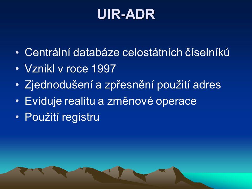 UIR-ADR Centrální databáze celostátních číselníků Vznikl v roce 1997 Zjednodušení a zpřesnění použití adres Eviduje realitu a změnové operace Použití registru