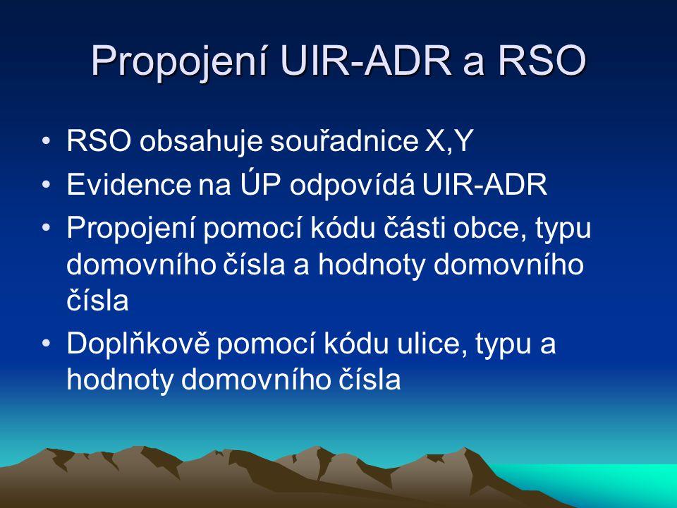 Propojení UIR-ADR a RSO RSO obsahuje souřadnice X,Y Evidence na ÚP odpovídá UIR-ADR Propojení pomocí kódu části obce, typu domovního čísla a hodnoty domovního čísla Doplňkově pomocí kódu ulice, typu a hodnoty domovního čísla
