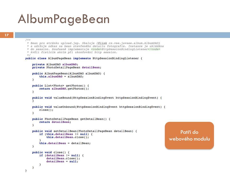 AlbumPageBean 17 Patří do webového modulu