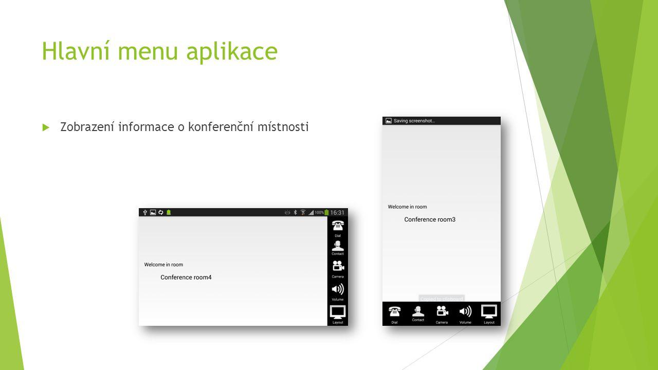 Hlavní menu aplikace  Zobrazení informace o konferenční místnosti