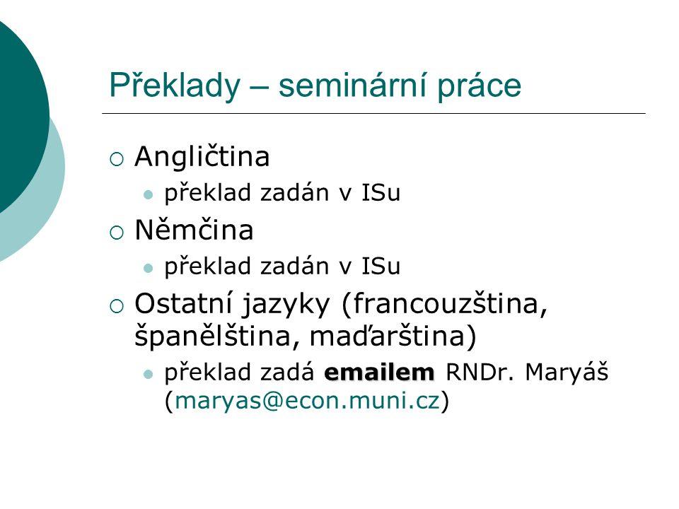 EKONOMICKÁ GEOGRAFIE seminář č. 3 Zadání seminárních prací - překlady