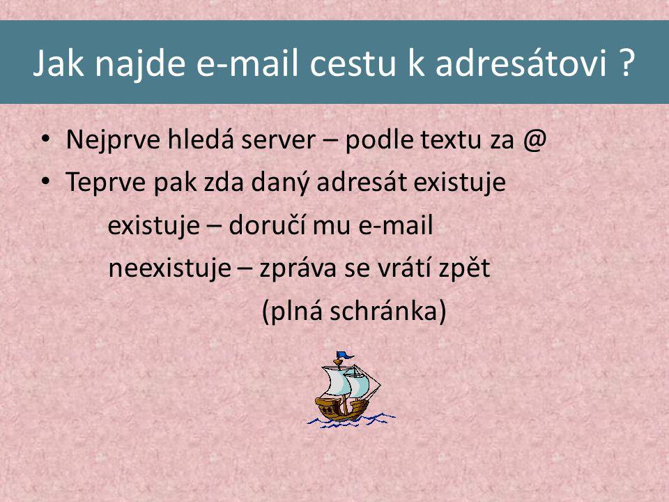 Jak najde e-mail cestu k adresátovi .