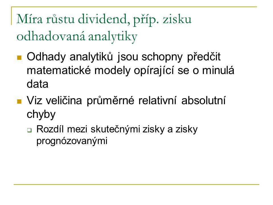 Míra růstu dividend, příp. zisku odhadovaná analytiky Odhady analytiků jsou schopny předčit matematické modely opírající se o minulá data Viz veličina