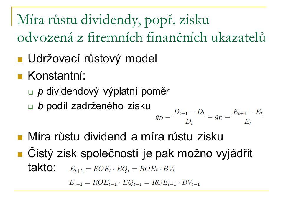 Míra růstu dividendy, popř. zisku odvozená z firemních finančních ukazatelů Udržovací růstový model Konstantní:  p dividendový výplatní poměr  b pod