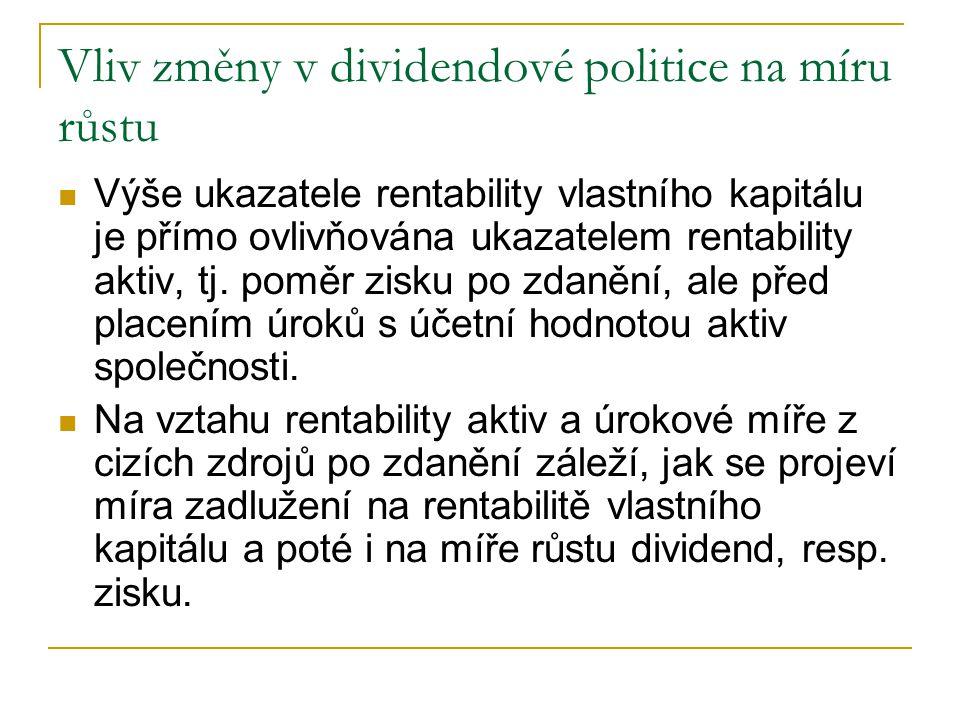 Vliv změny v dividendové politice na míru růstu Výše ukazatele rentability vlastního kapitálu je přímo ovlivňována ukazatelem rentability aktiv, tj.