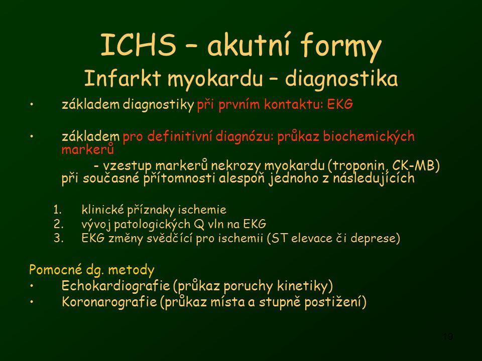 19 ICHS – akutní formy základem diagnostiky při prvním kontaktu: EKG základem pro definitivní diagnózu: průkaz biochemických markerů - vzestup markerů nekrozy myokardu (troponin, CK-MB) při současné přítomnosti alespoň jednoho z následujících 1.klinické příznaky ischemie 2.vývoj patologických Q vln na EKG 3.EKG změny svědčící pro ischemii (ST elevace či deprese) Pomocné dg.