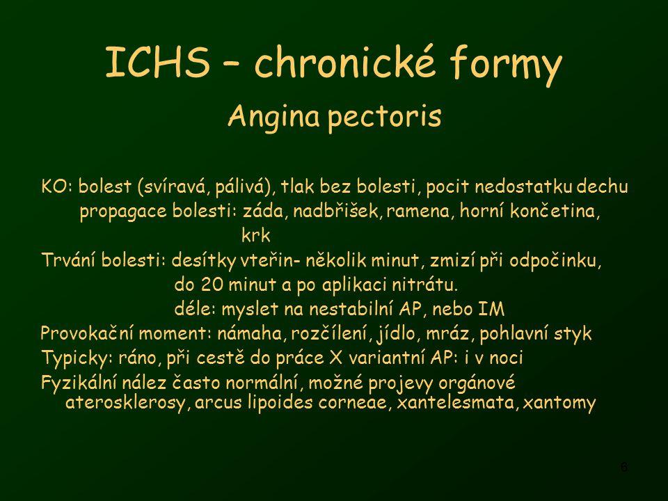 6 ICHS – chronické formy Angina pectoris KO: bolest (svíravá, pálivá), tlak bez bolesti, pocit nedostatku dechu propagace bolesti: záda, nadbřišek, ramena, horní končetina, krk Trvání bolesti: desítky vteřin- několik minut, zmizí při odpočinku, do 20 minut a po aplikaci nitrátu.