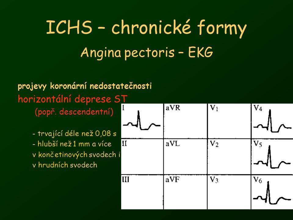 9 ICHS – chronické formy Angina pectoris Diferenciální diagnóza –vertebrogenní bolesti (úlevová poloha) –onemocnění ramenního kloubu (palpační bolestivost) –preeruprtivní stadium pásového oparu (segmentová lokalizace) –onemocnění GIT (vztah k požití potravy) –jiné kardiovaskulární nemoci perikarditis (fyzikální vyšetření – třecí šelest, ECHO – výpotek) disekující aneurysma aorty (propagace bolesti, ECHO, EKG, CT, MR, angio) IM – charakter bolesti stejný, delší trvání bolesti, neustupuje po nitrátu –plicní onemocnění – pleuritis, PNO (fyzikálně, skiagram) –neurocirkulační astenie (bodavá bolest v oblasti hrotu)