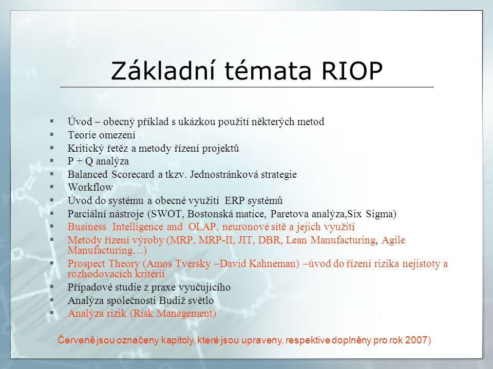 Základní témata RIOP  Úvod – obecný příklad s ukázkou použití některých metod  Teorie omezení  Kritický řetěz a metody řízení projektů  P + Q analýza  Balanced Scorecard a tkzv.
