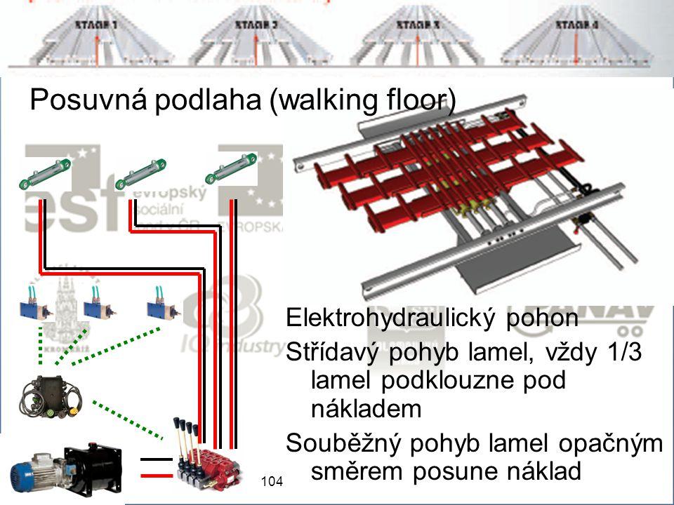 104 Posuvná podlaha (walking floor) Elektrohydraulický pohon Střídavý pohyb lamel, vždy 1/3 lamel podklouzne pod nákladem Souběžný pohyb lamel opačným