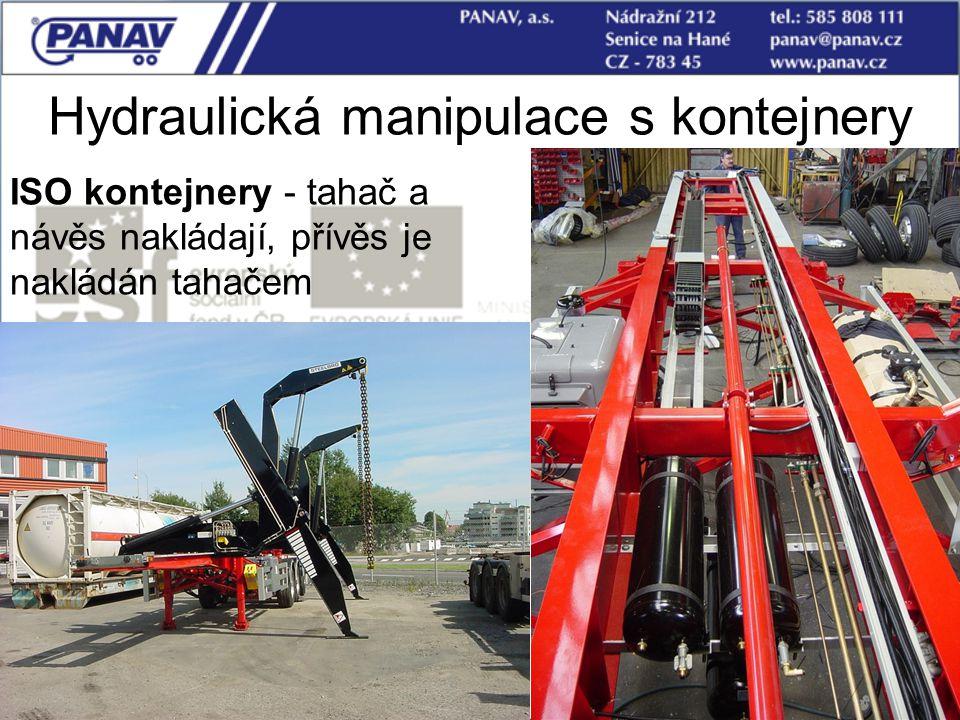108 Hydraulická manipulace s kontejnery ISO kontejnery - tahač a návěs nakládají, přívěs je nakládán tahačem