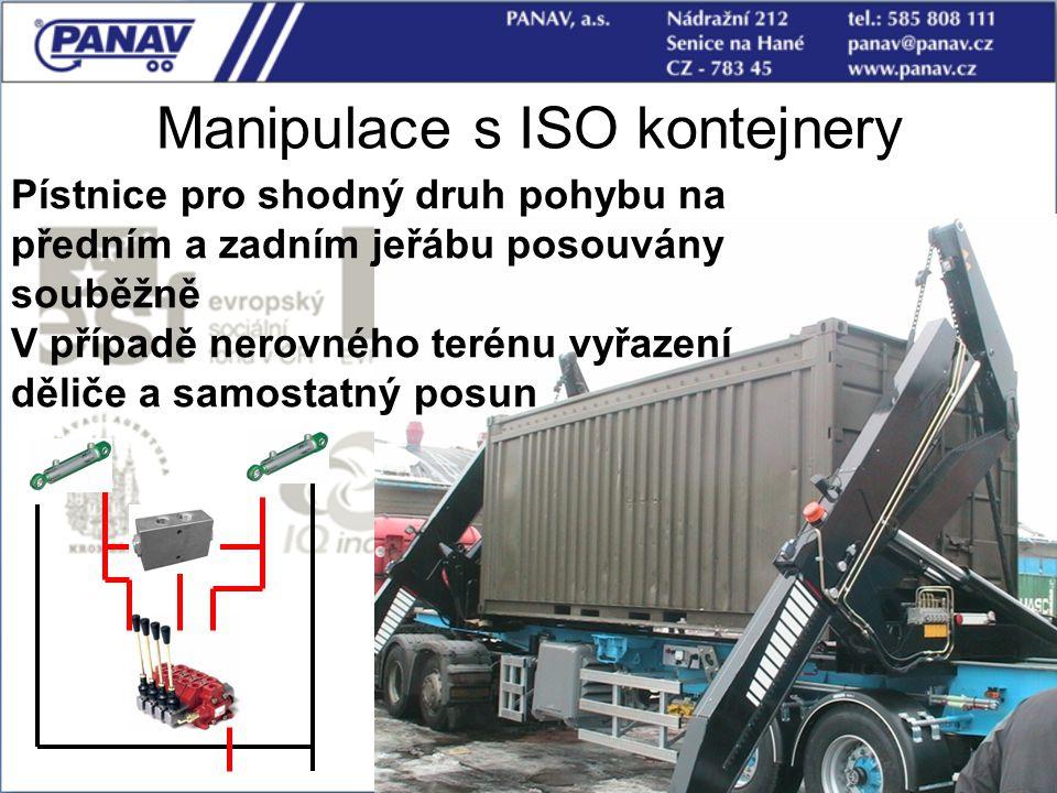 109 Manipulace s ISO kontejnery Pístnice pro shodný druh pohybu na předním a zadním jeřábu posouvány souběžně V případě nerovného terénu vyřazení děli