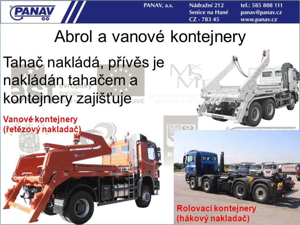 110 Abrol a vanové kontejnery Tahač nakládá, přívěs je nakládán tahačem a kontejnery zajišťuje Vanové kontejnery (řetězový nakladač) Rolovací kontejne
