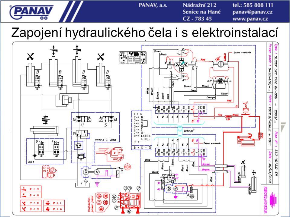 114 Zapojení hydraulického čela i s elektroinstalací