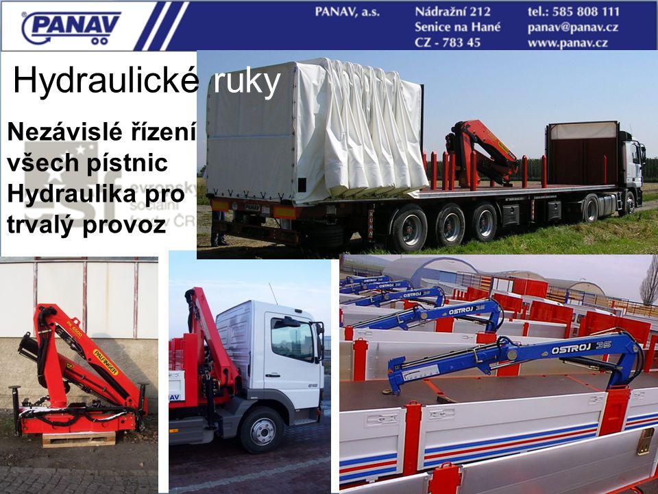115 Hydraulické ruky Nezávislé řízení všech pístnic Hydraulika pro trvalý provoz