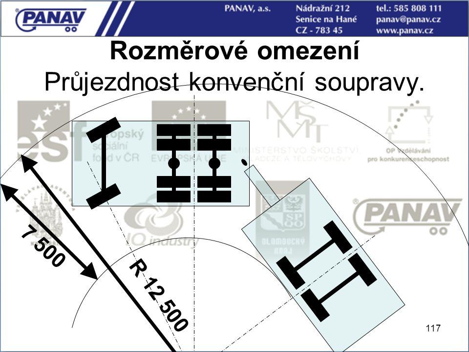 117 Rozměrové omezení Průjezdnost konvenční soupravy. R 12 500 7 500