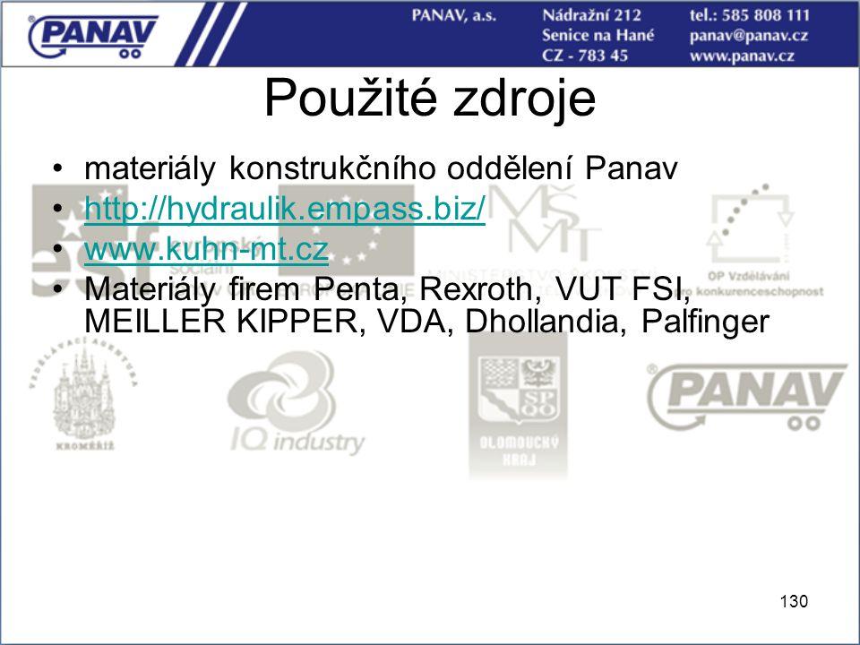 130 Použité zdroje materiály konstrukčního oddělení Panav http://hydraulik.empass.biz/ www.kuhn-mt.cz Materiály firem Penta, Rexroth, VUT FSI, MEILLER