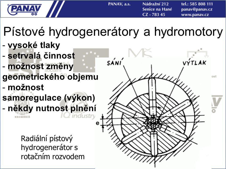 Pístové hydrogenerátory a hydromotory Radiální pístový hydrogenerátor s rotačním rozvodem - vysoké tlaky - setrvalá činnost - možnost změny geometrick