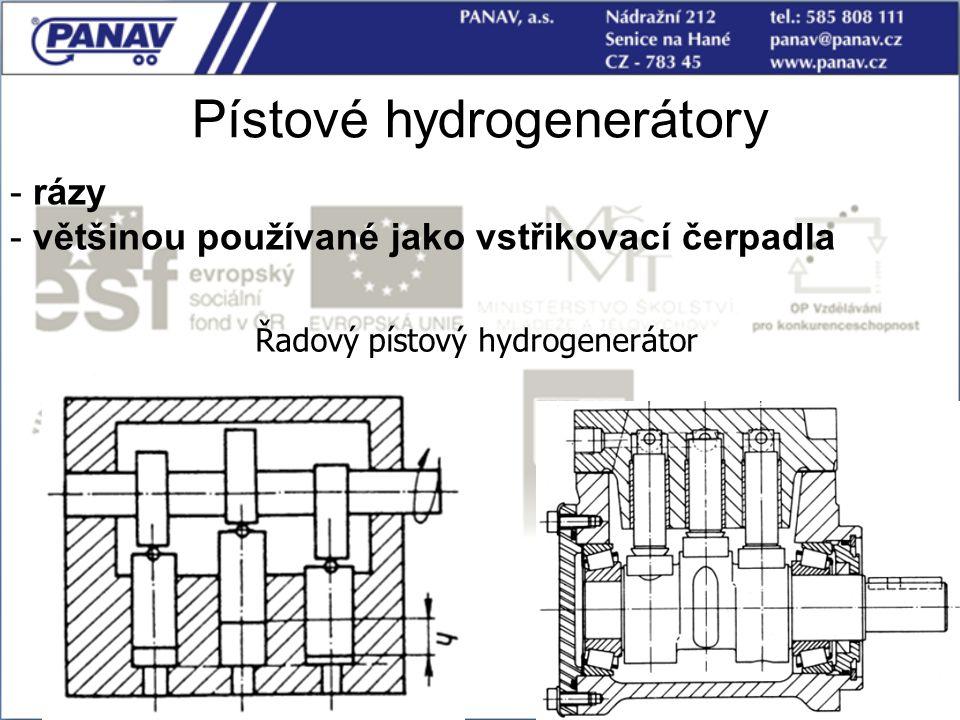 Pístové hydrogenerátory Řadový pístový hydrogenerátor - rázy - většinou používané jako vstřikovací čerpadla