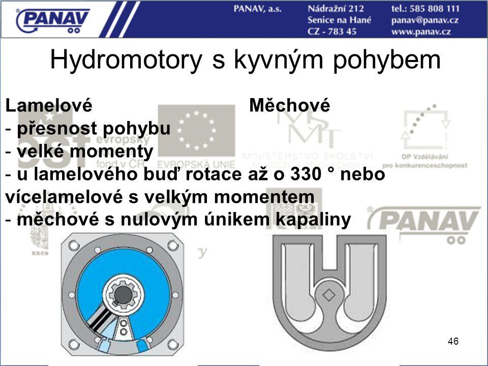 46 Hydromotory s kyvným pohybem LamelovéMěchové - přesnost pohybu - velké momenty - u lamelového buď rotace až o 330 ° nebo vícelamelové s velkým mome