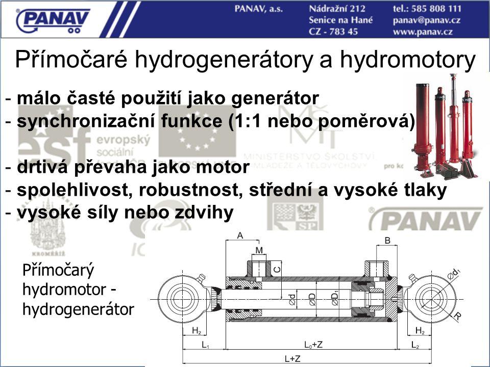 Přímočaré hydrogenerátory a hydromotory Přímočarý hydromotor - hydrogenerátor - málo časté použití jako generátor - synchronizační funkce (1:1 nebo po