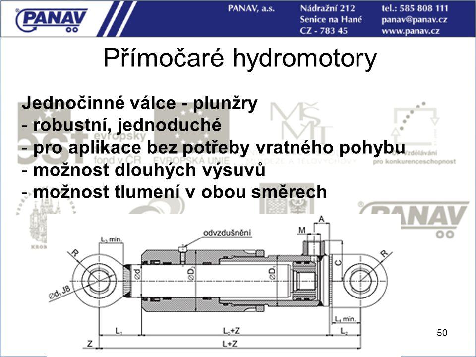 50 Přímočaré hydromotory Jednočinné válce - plunžry - robustní, jednoduché - pro aplikace bez potřeby vratného pohybu - možnost dlouhých výsuvů - možn