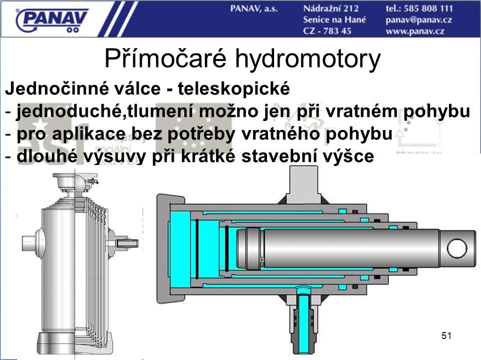 51 Přímočaré hydromotory Jednočinné válce - teleskopické - jednoduché,tlumení možno jen při vratném pohybu - pro aplikace bez potřeby vratného pohybu
