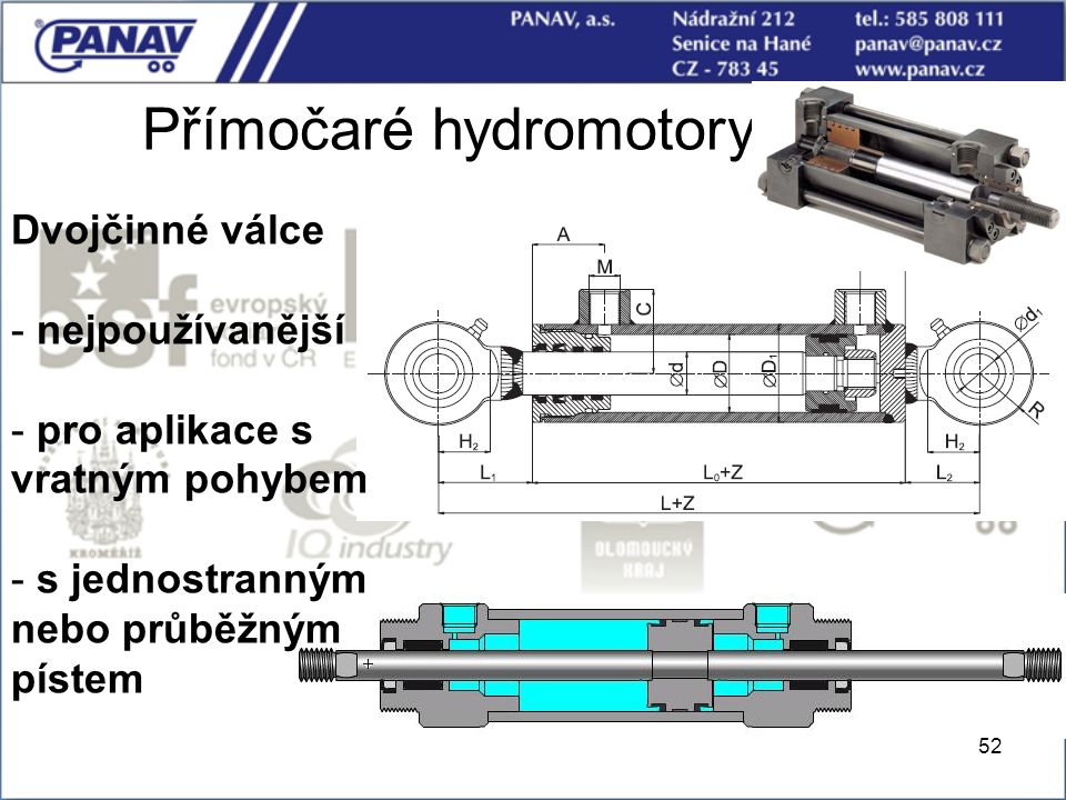 52 Přímočaré hydromotory Dvojčinné válce - nejpoužívanější - pro aplikace s vratným pohybem - s jednostranným nebo průběžným pístem