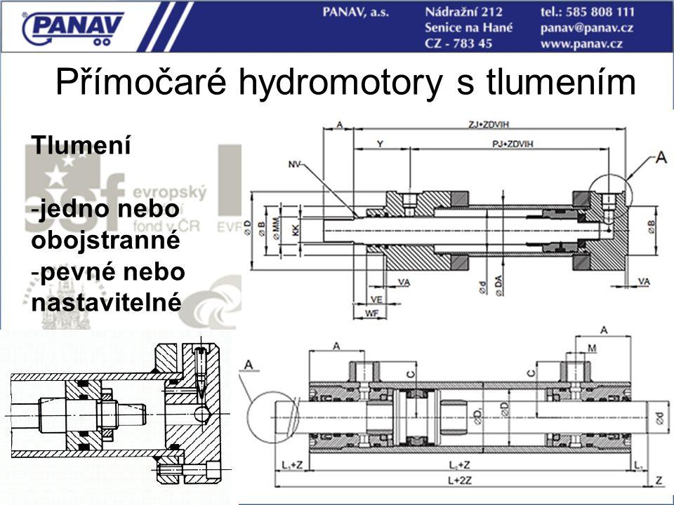 53 Přímočaré hydromotory s tlumením Tlumení -jedno nebo obojstranné -pevné nebo nastavitelné