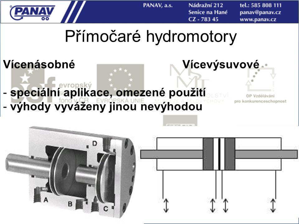 56 Přímočaré hydromotory VícenásobnéVícevýsuvové - speciální aplikace, omezené použití - výhody vyváženy jinou nevýhodou