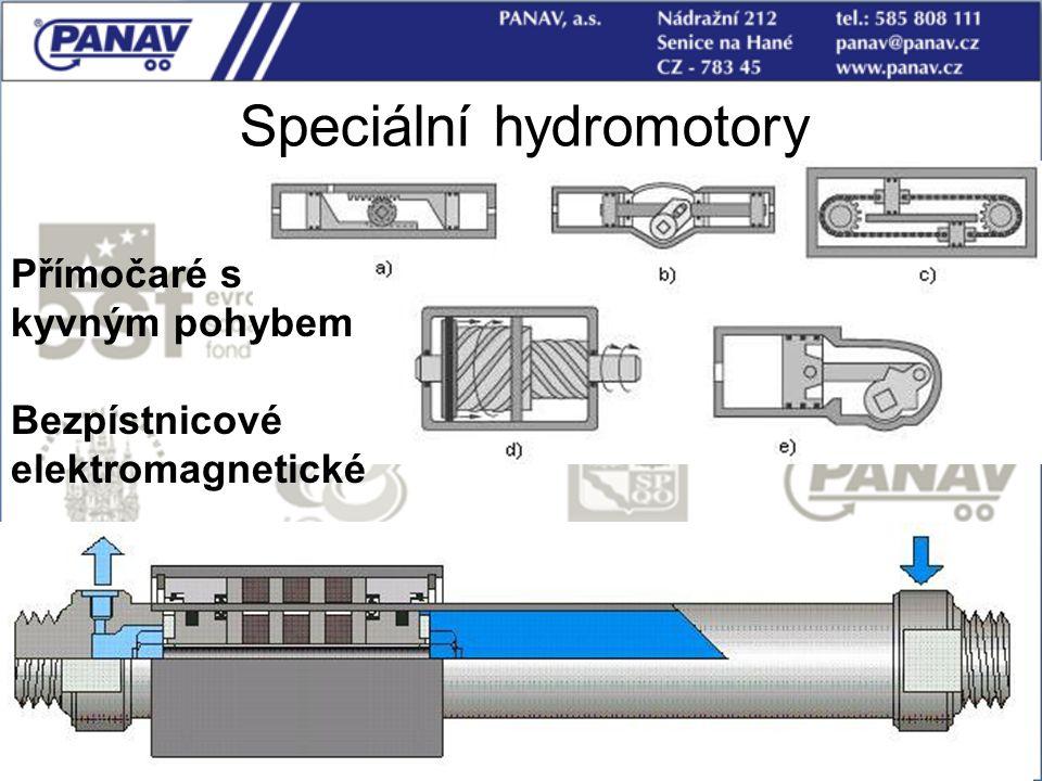 57 Speciální hydromotory Přímočaré s kyvným pohybem Bezpístnicové elektromagnetické