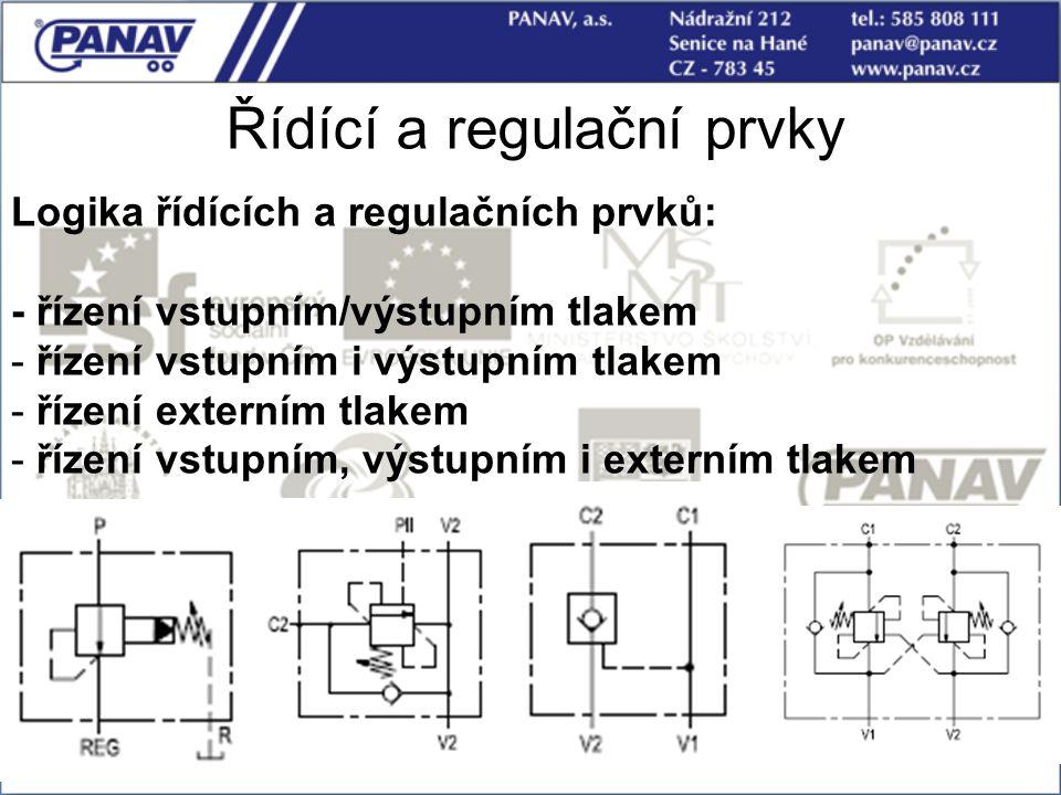 63 Řídící a regulační prvky Logika řídících a regulačních prvků: - řízení vstupním/výstupním tlakem - řízení vstupním i výstupním tlakem - řízení exte