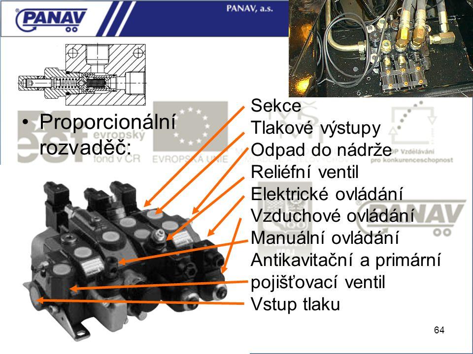 64 Proporcionální rozvaděč: Sekce Tlakové výstupy Odpad do nádrže Reliéfní ventil Elektrické ovládání Vzduchové ovládání Manuální ovládání Antikavitač