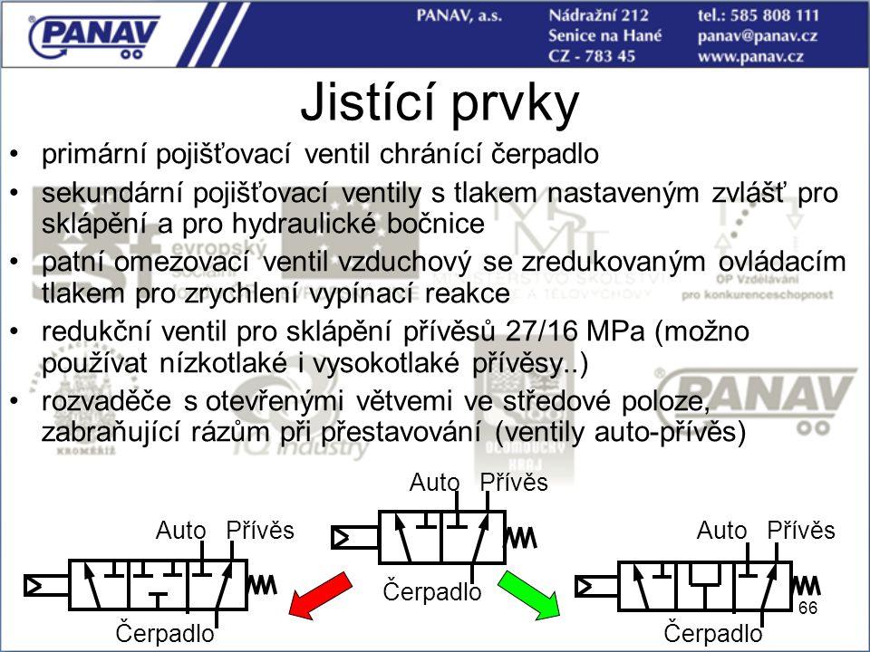 66 Jistící prvky primární pojišťovací ventil chránící čerpadlo sekundární pojišťovací ventily s tlakem nastaveným zvlášť pro sklápění a pro hydraulick