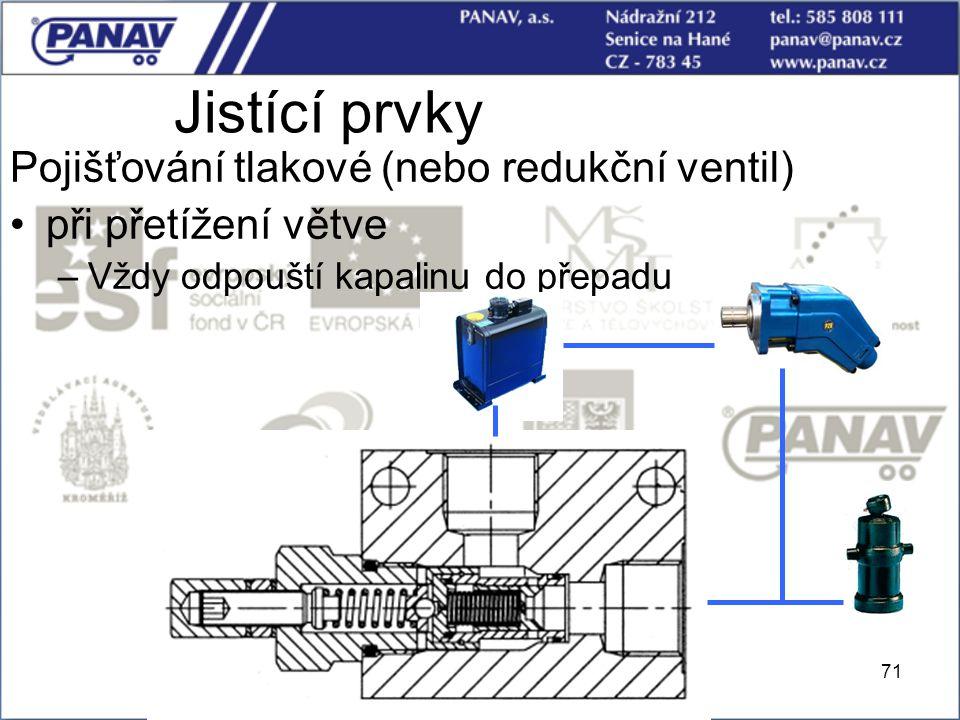 71 Jistící prvky Pojišťování tlakové (nebo redukční ventil) při přetížení větve –Vždy odpouští kapalinu do přepadu
