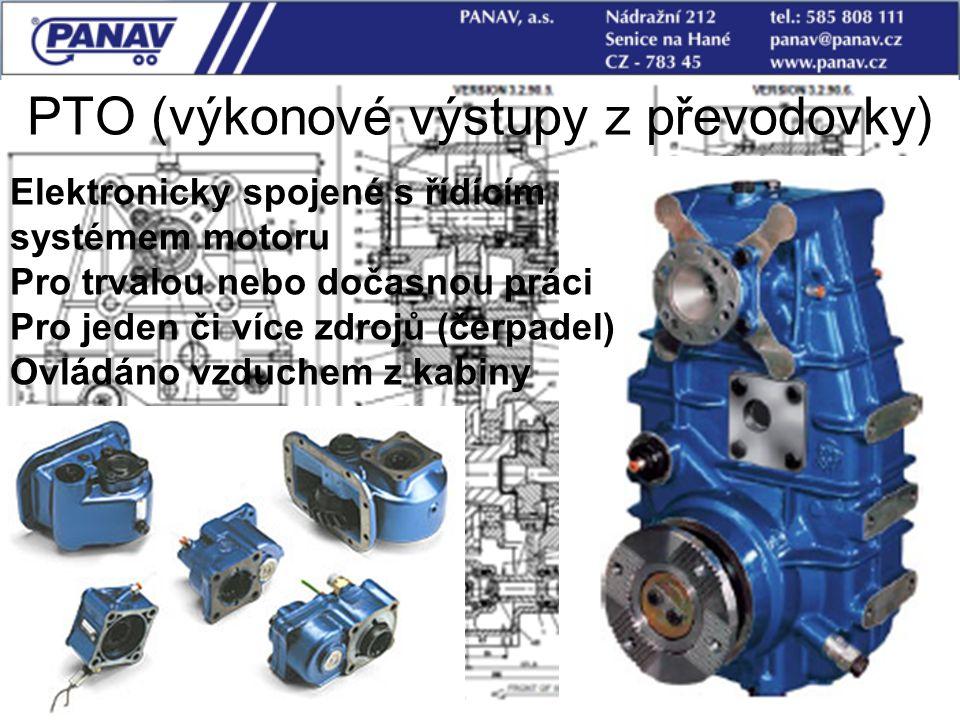 79 PTO (výkonové výstupy z převodovky) Elektronicky spojené s řídícím systémem motoru Pro trvalou nebo dočasnou práci Pro jeden či více zdrojů (čerpad