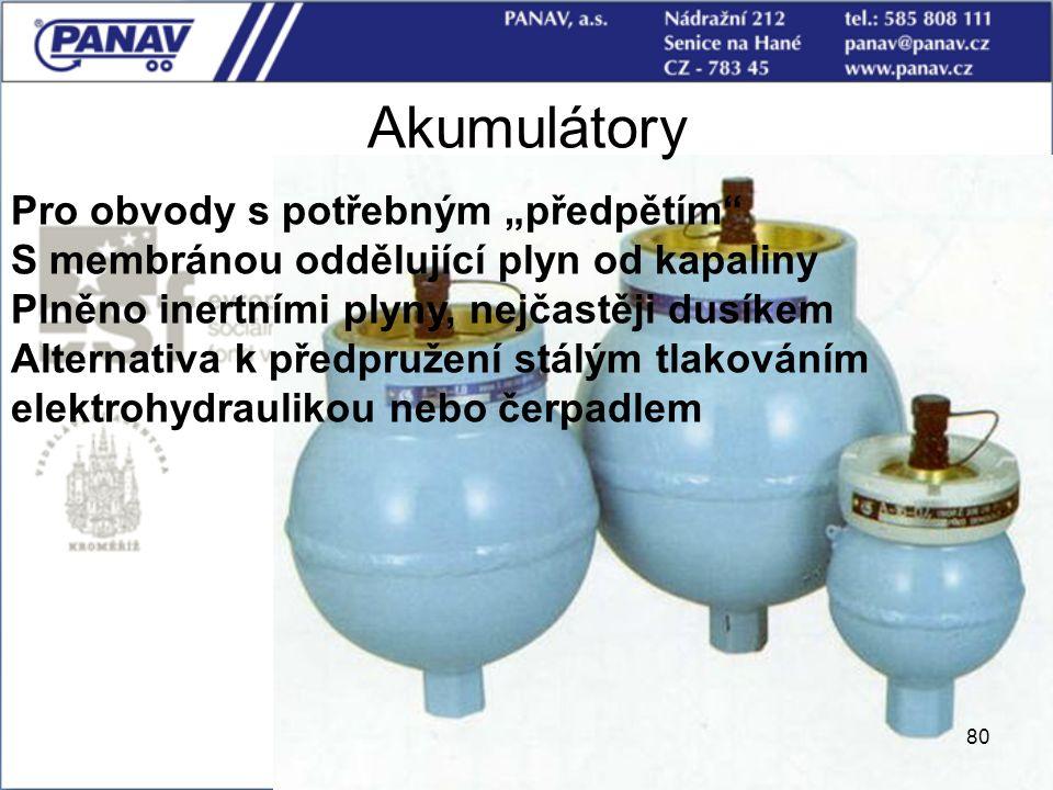 """80 Akumulátory Pro obvody s potřebným """"předpětím"""" S membránou oddělující plyn od kapaliny Plněno inertními plyny, nejčastěji dusíkem Alternativa k pře"""