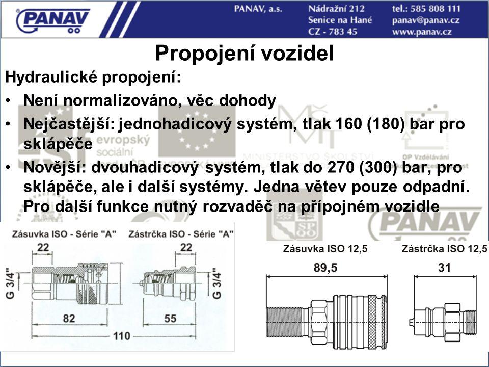86 Propojení vozidel Hydraulické propojení: Není normalizováno, věc dohody Nejčastější: jednohadicový systém, tlak 160 (180) bar pro sklápěče Novější: