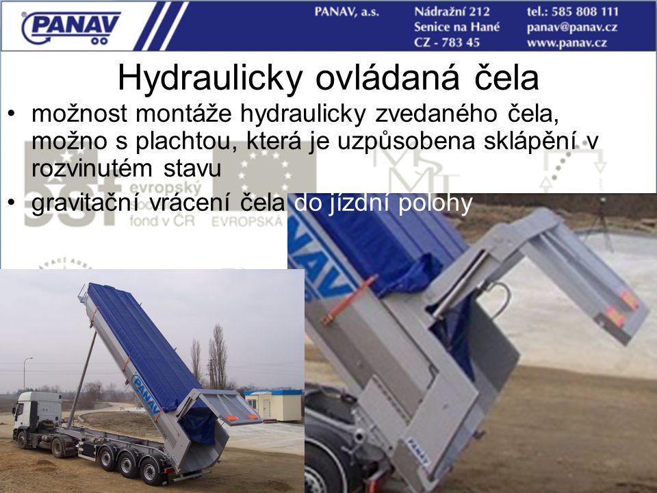 91 Hydraulicky ovládaná čela možnost montáže hydraulicky zvedaného čela, možno s plachtou, která je uzpůsobena sklápění v rozvinutém stavu gravitační