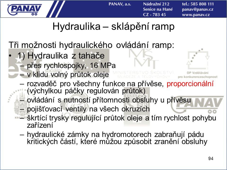 94 Hydraulika – sklápění ramp Tři možnosti hydraulického ovládání ramp: 1) Hydraulika z tahače –přes rychlospojky, 16 MPa –v klidu volný průtok oleje
