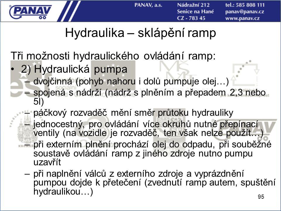 95 Hydraulika – sklápění ramp Tři možnosti hydraulického ovládání ramp: 2) Hydraulická pumpa –dvojčinná (pohyb nahoru i dolů pumpuje olej…) –spojená s