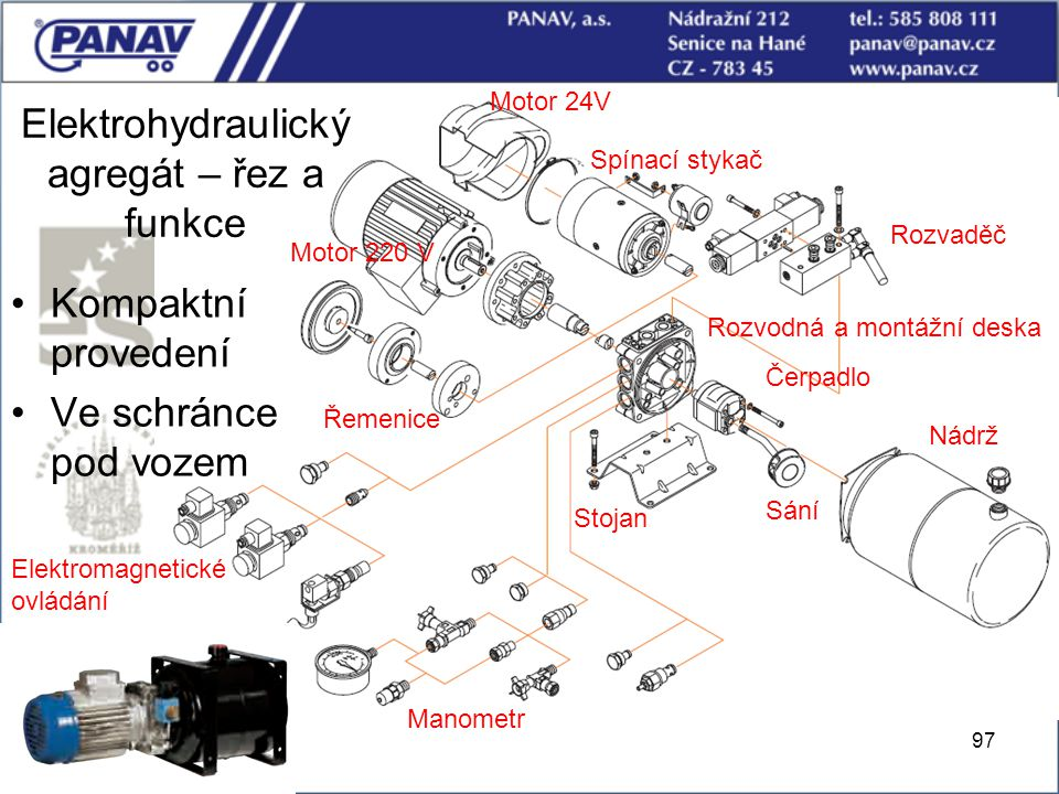 97 Elektrohydraulický agregát – řez a funkce Kompaktní provedení Ve schránce pod vozem Rozvaděč Nádrž Čerpadlo Motor 220 V Rozvodná a montážní deska S