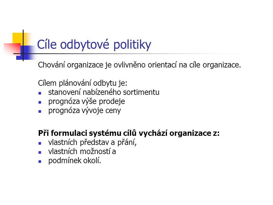 Cíle odbytové politiky Chování organizace je ovlivněno orientací na cíle organizace. Cílem plánování odbytu je: stanovení nabízeného sortimentu prognó