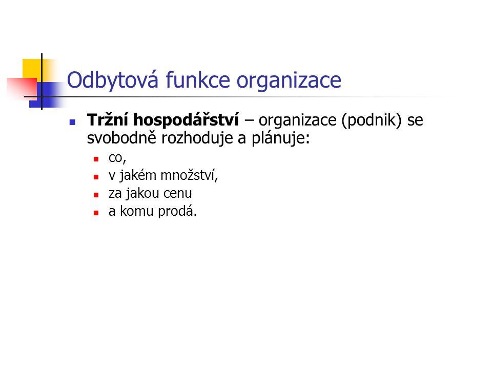 Odbytová funkce organizace 1)Plánování odbytu se orientuje na cíle oragnizace.