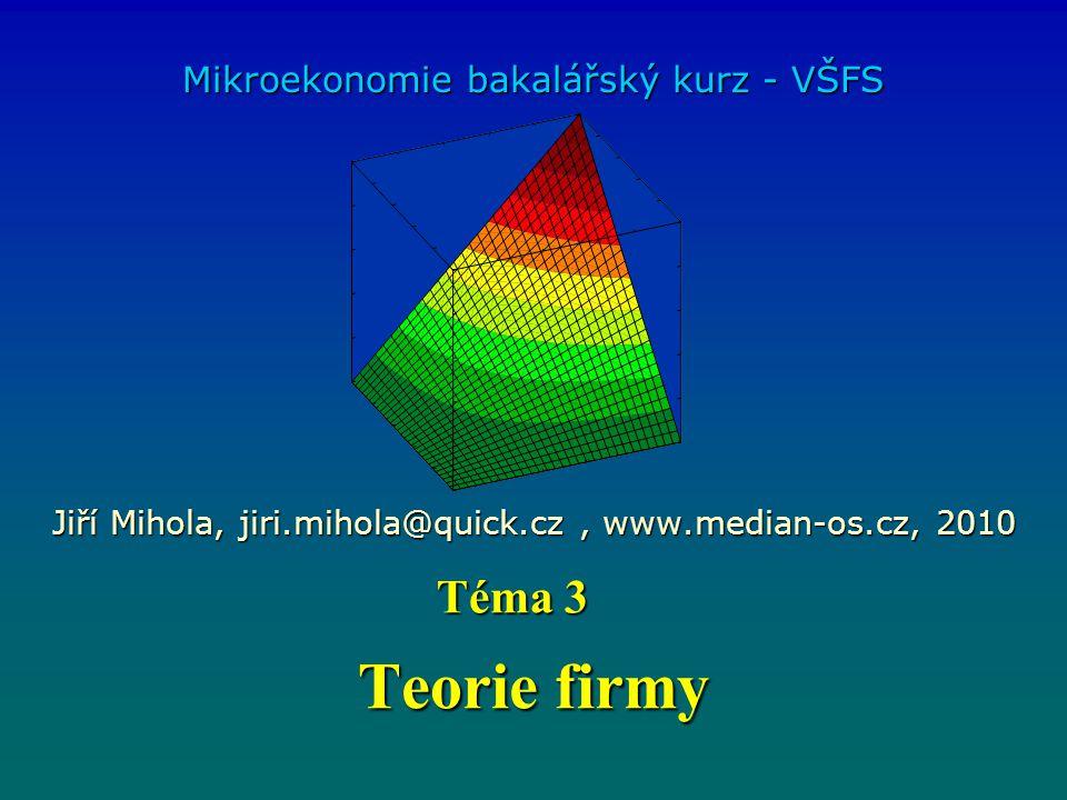 Teorie firmy Mikroekonomie bakalářský kurz - VŠFS Jiří Mihola, jiri.mihola@quick.cz, www.median-os.cz, 2010 Téma 3