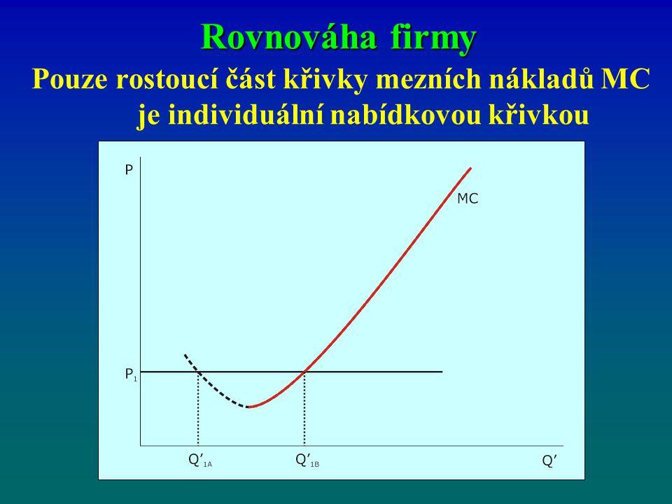 Pouze rostoucí část křivky mezních nákladů MC je individuální nabídkovou křivkou
