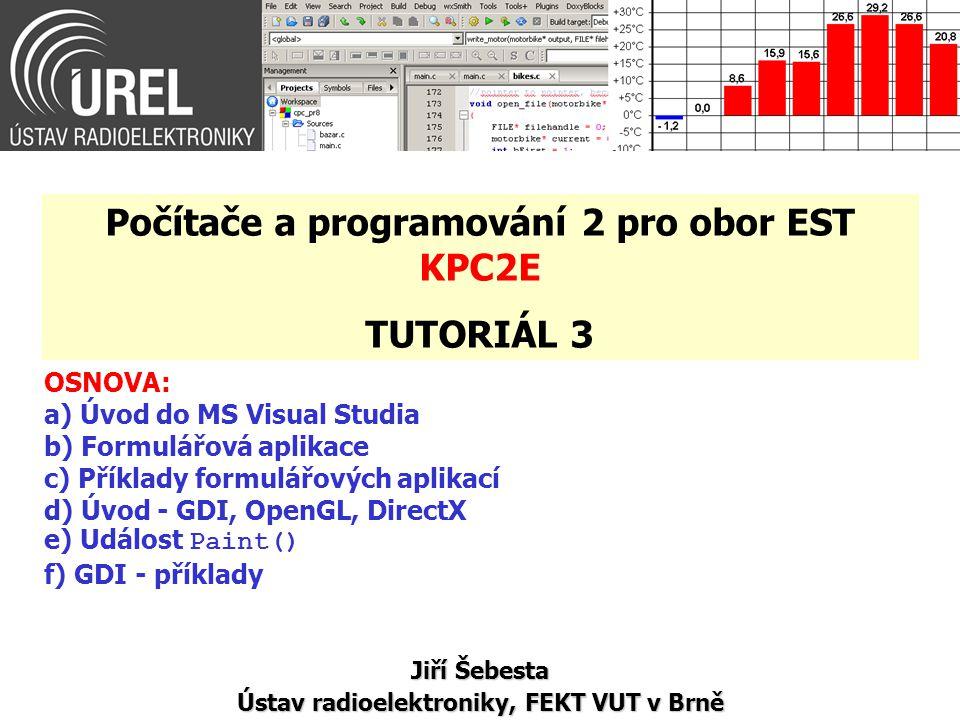Úvod do MS Visual Studia (1/4) Projekt pro Windows: – hlavičkové soubory soubory xxx.h – zdrojové soubory soubory xxx.c nebo xxx.cpp – zdroje (resources) = především grafické objekty s danými vlastnostmi a chováním soubory xxx.rc ( xxx.ico )