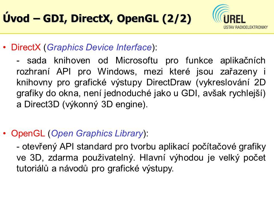 Úvod – GDI, DirectX, OpenGL (2/2) DirectX (Graphics Device Interface): - sada knihoven od Microsoftu pro funkce aplikačních rozhraní API pro Windows,