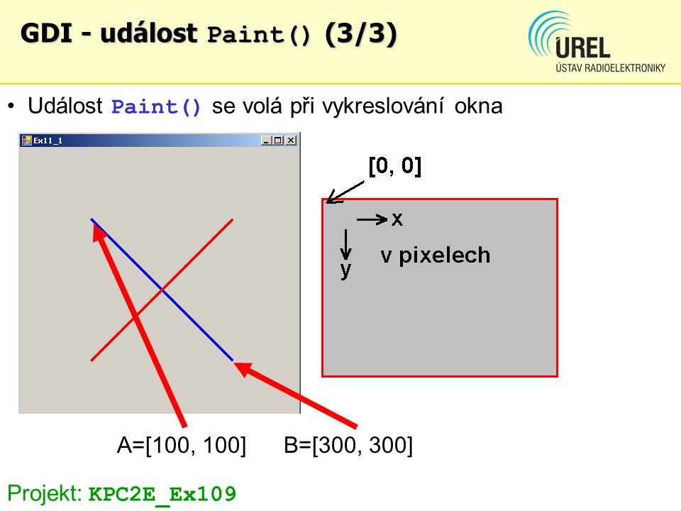 GDI - událost Paint() (3/3) Událost Paint() se volá při vykreslování okna A=[100, 100] B=[300, 300] Projekt: KPC2E_Ex109