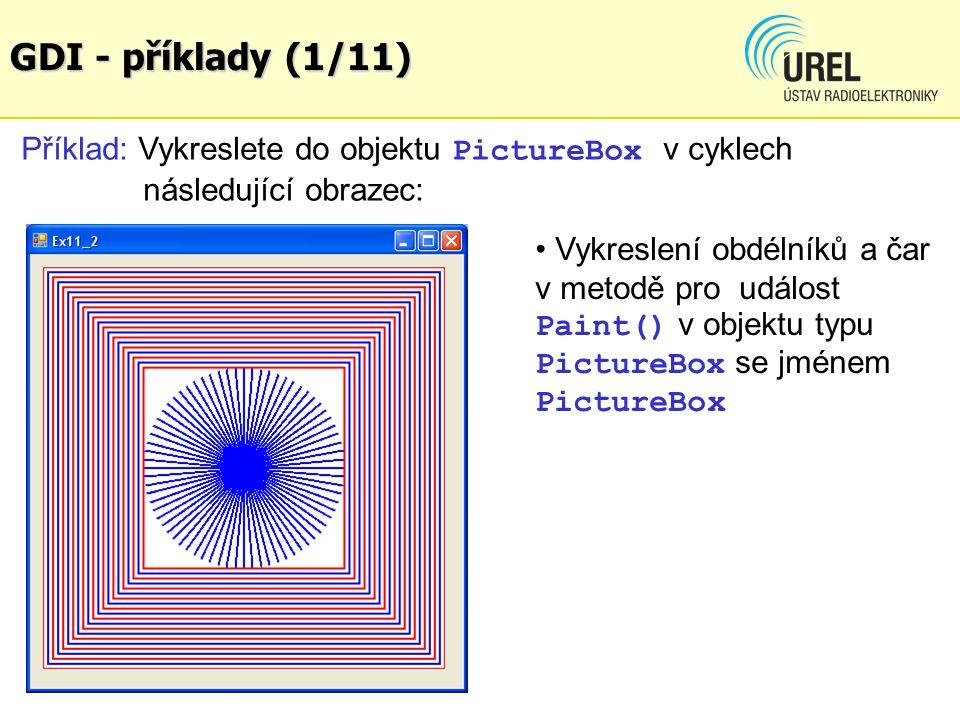 GDI - příklady (1/11) Příklad: Vykreslete do objektu PictureBox v cyklech následující obrazec: Vykreslení obdélníků a čar v metodě pro událost Paint()